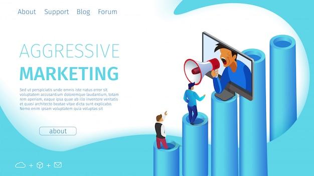 Агрессивный маркетинг flat banner landing page.