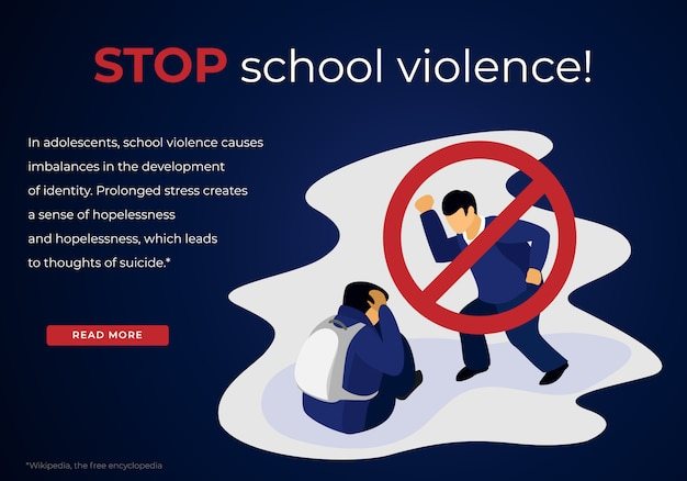 Aggressive teenager bullying schoolboy victim
