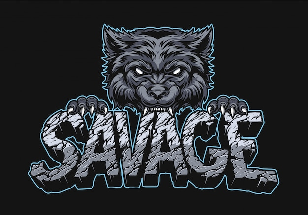 Aggressive wolf holding savage inscription