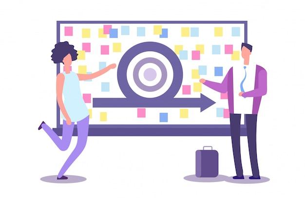 Agile method presentation. vector businesspeople and scrub board. agile concept