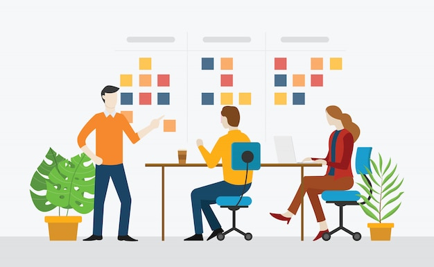 Agile team working together