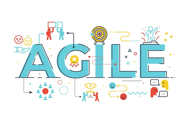 Agile word lettering illustration