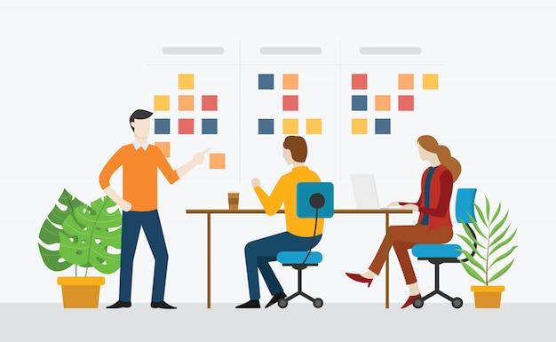Agile команда работает вместе