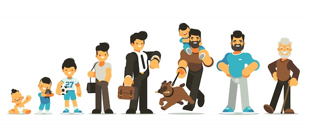 Aging concept of male character. generation of people and stages of growing up. baby, child, teenager, adult, elderly person. the cycle of life from childhood to old age.   cartoon illustration.