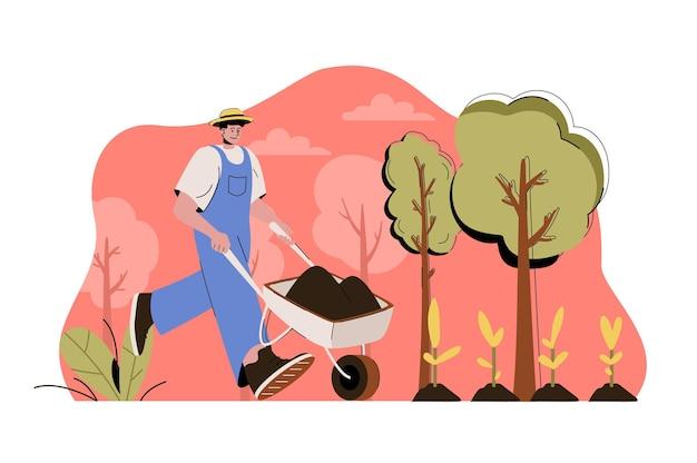 평평한 사람들이 있는 농업 웹 개념 그림