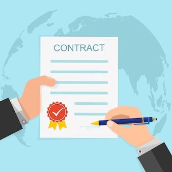 契約の概念-契約の手署名。ベクトルイラスト。