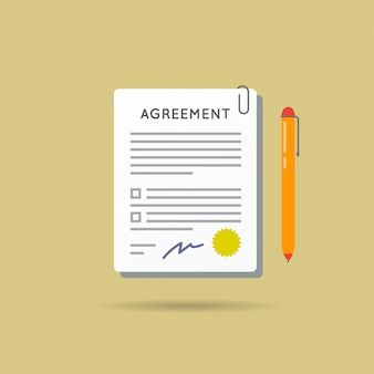 Agreement contract and pen with signature