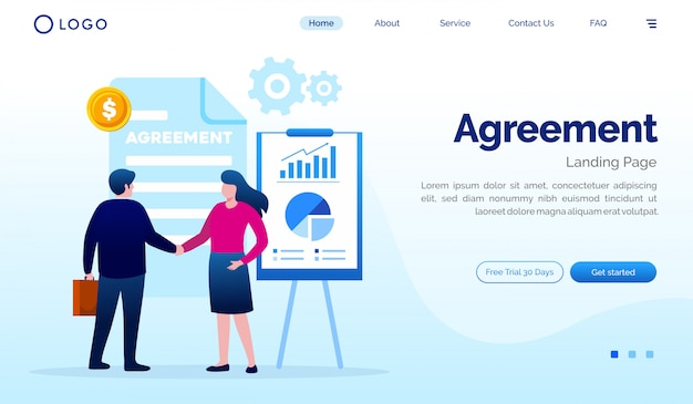 Agreement landing page illustration flat vector template