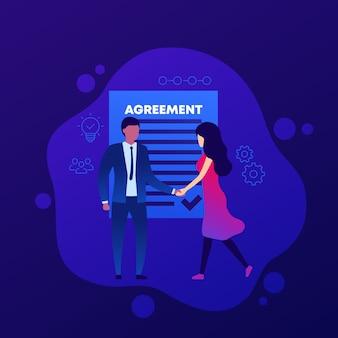合意、握手する人々