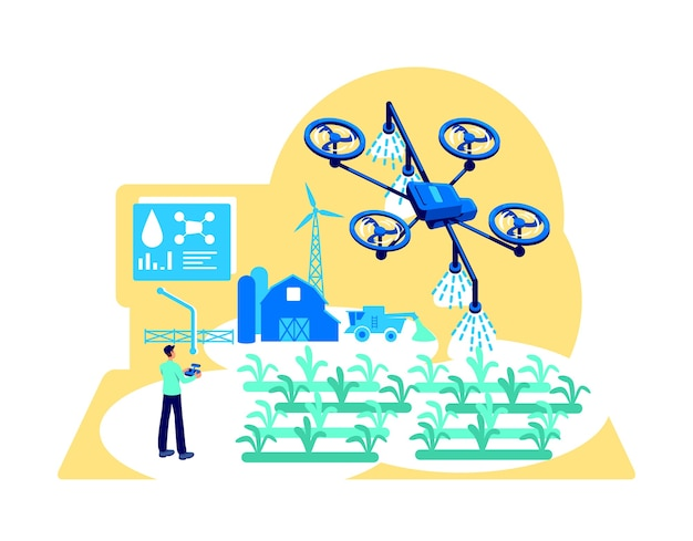 Agribusiness automation flat concept . drone for irrigation. modern greenhouse. farmer with device control 2d cartoon character for web design. digital agriculture creative idea