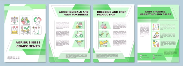 Agribusiness component brochure template. farm machinery.