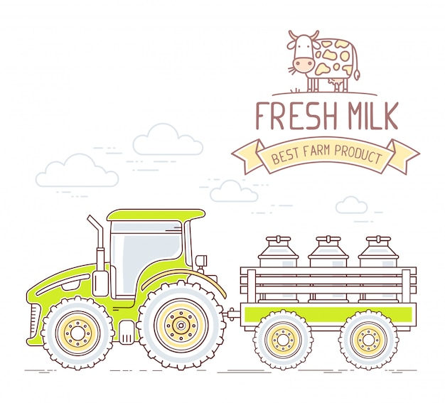 Agribusiness.  illustration of farm tractor with cart with milk can isolated on white background. village landscape.