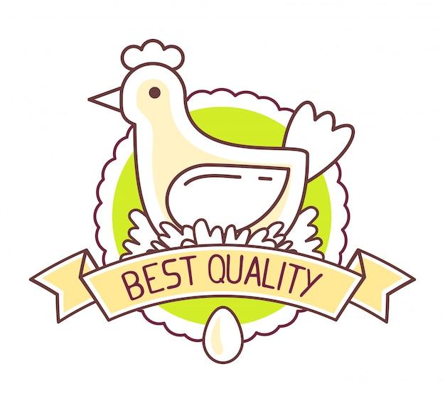 농업 사업. 흰색 배경에 닭 농장 천연 제품의 그림. 에코 푸드 로고. 최고 품질의 제품.
