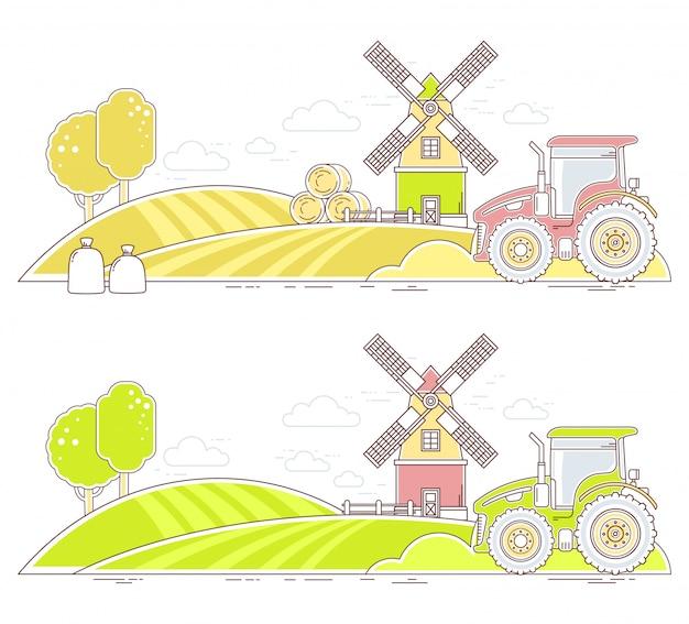 アグリビジネス。白い背景の上の自然経済とカラフルな農場生活のイラスト。村の風景。