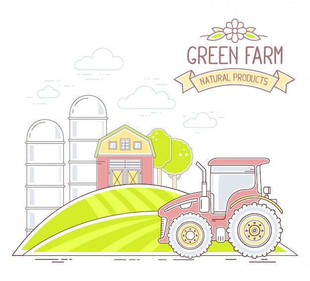 アグリビジネス。白い背景の自然経済とカラフルな緑の農場生活のイラスト。村の風景のコンセプト