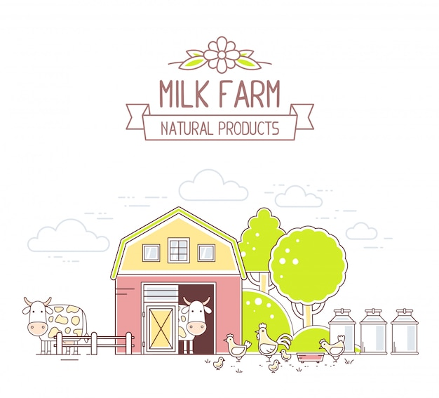 アグリビジネス。白い背景の上の自然経済とカラフルな牛乳ファームライフのイラスト。村の風景。