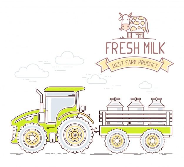 アグリビジネス。牛乳が付いているカートが付いている農場トラクターのイラストは、白い背景で隔離することができます。村の風景。