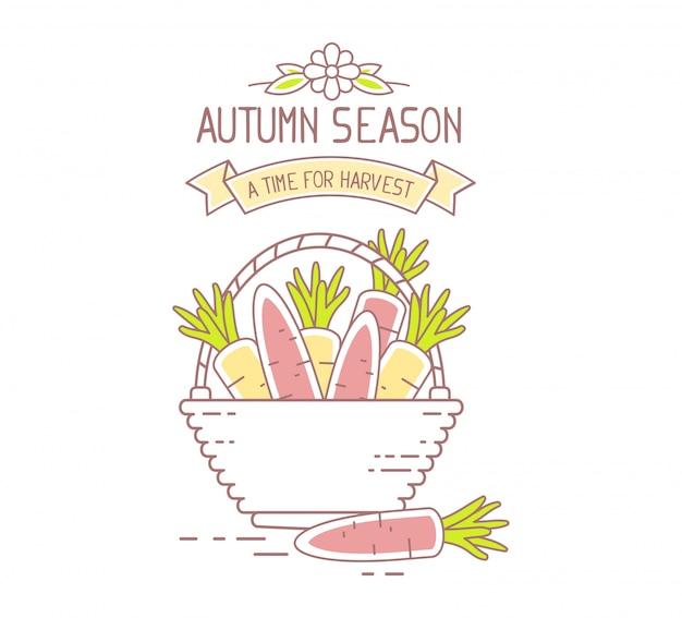 アグリビジネス。枝編み細工品バスケットのイラストは、白い背景で隔離のオレンジ色のおいしいニンジンでいっぱい。収穫期。秋のシーズン。