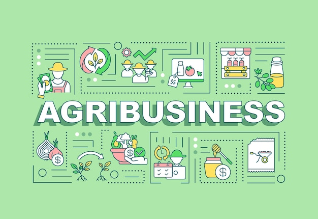 Agribusiness word concepts banner. agricultural production. infographics with linear icons on mint background.