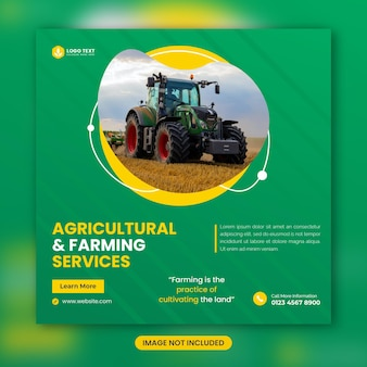 농업 및 농업 서비스 소셜 미디어 배너 템플릿