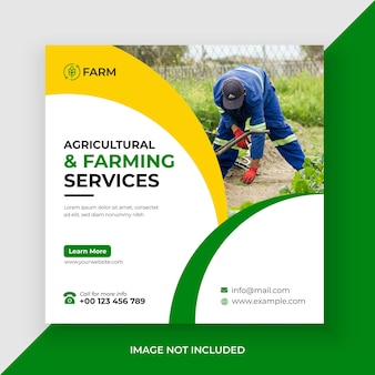 農業および農業サービスソーシャルメディア投稿およびwebバナープレミアムベクター