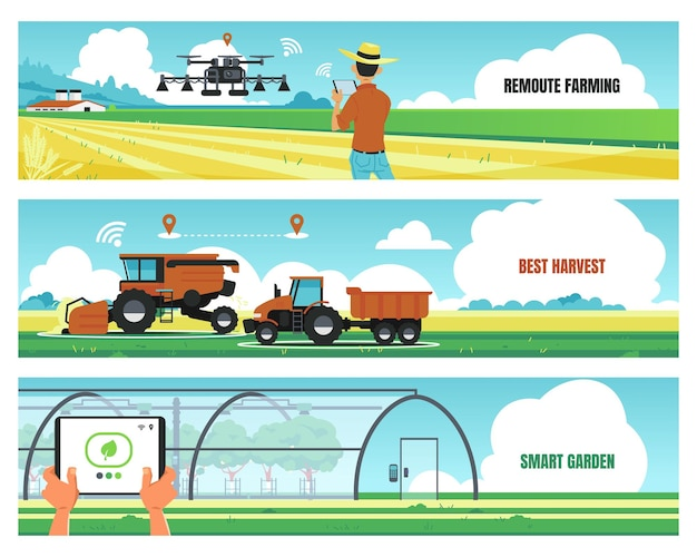 Agricultural banners. smart farming and using futuristic technologies for growing food, soil work automation concept. vector image agro digital technology flyer