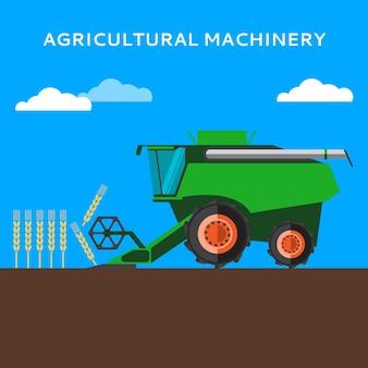 農業用コンバインが麦畑で収穫されています