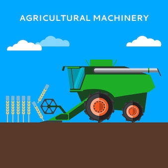 Agricultural combine machine is harvesting on the wheat field