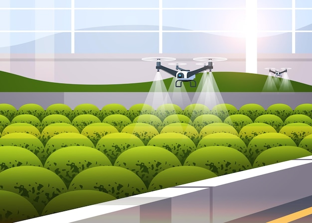 Agricultural drones sprayers quad copters flying to spray chemical fertilizers in greenhouse smart farming innovation technology Premium Vector