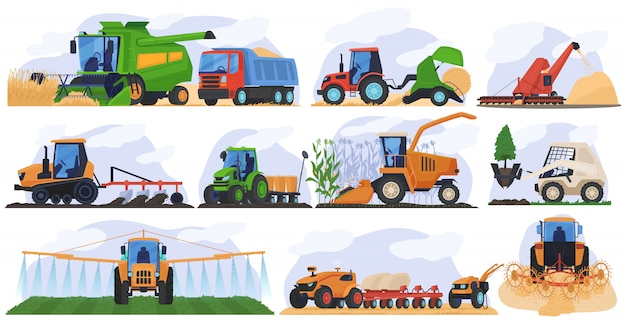 Agricultural farming machinery vehicle  set  illustration of agriculture tractor hay baler, combine harvester.