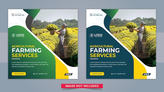 Agricultural and farming services social media post and webbanner template design