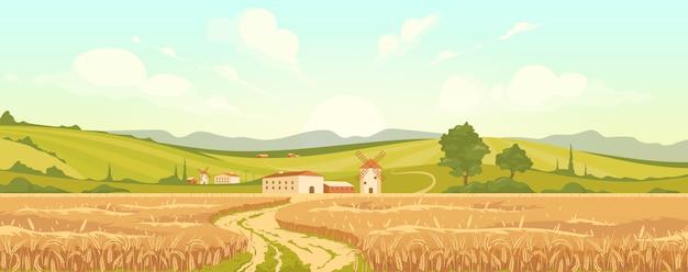 Плоская иллюстрация сельскохозяйственного поля