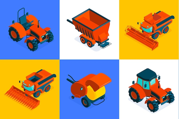 Agricultural isometric composition set of six square colored icons with machinery for field