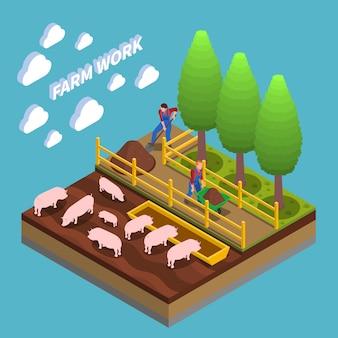 Composizione isometrica agricola con agricoltori impegnati nell'allevamento e nel giardinaggio dei suini