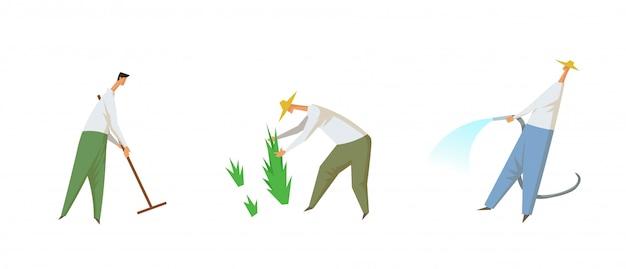 農業労働、フィールドの労働者。文字のセット。カラフルなイラスト。白い背景の上