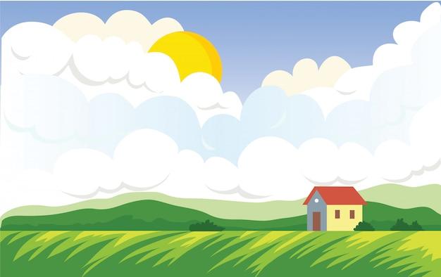 農家の家のある農業景観。太陽とグリーンフィールドと積雲。風景イラスト。