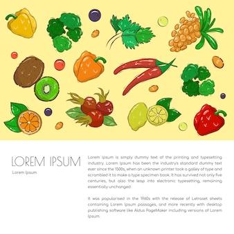 手描きの野菜、果物、ベリーの農業リーフレットテンプレート。健康的な食生活のためのさまざまなオーガニック製品。テキスト用のスペース。ストックイラスト