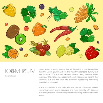 Agricultural leaflet template with hand-drawn vegetables, fruits and berries. various organic products for a healthy diet. space for the text. stock illustration