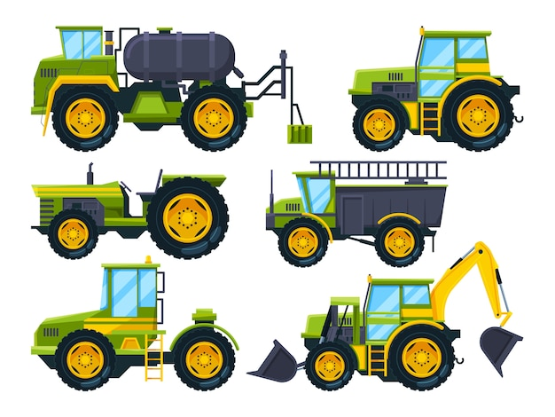 Agricultural machinery. colored pictures in cartoon style