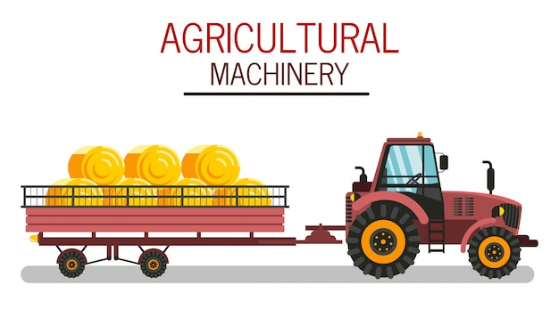 Agricultural machinery flat vector illustration