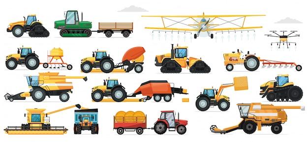 農業機械セット。畑作業用車両。孤立した産業用トラクター、ハーベスター、コンバイン、作物散布機、播種機輸送アイコンコレクション。農業および農業機械