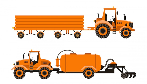 Agricultural machinery vector illustrations set