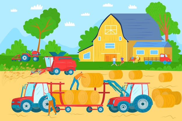 Agricultural machinery, vehicles and farm machines in field harvesting  illustration. tractors, harvesters, combines. agribusiness equipment. agriculture machinery industry crop harvest.