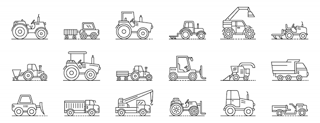 Agricultural machines icons set, outline style