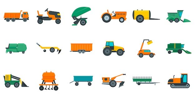 Agricultural machines icons set