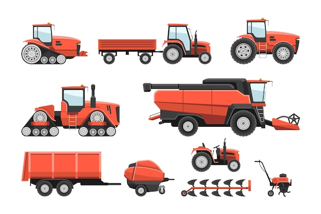 Набор тракторной техники тяжелой техники сельскохозяйственных ранчо. зерноуборочный комбайн, посевная уборочная машина, прицеп для перевозки зерна сельскохозяйственной промышленности транспортного средства векторные иллюстрации, изолированные на белом