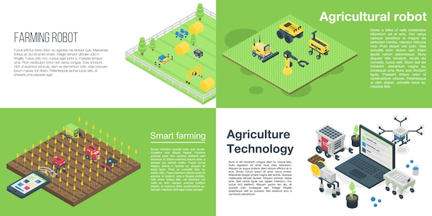 Agricultural robot banner set, isometric style