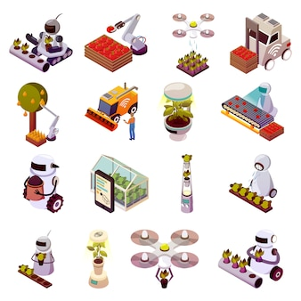 Agricultural robots icon set