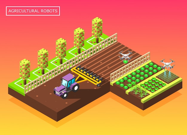 Agricultural robots isometric composition