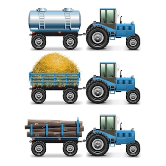 Agricultural tractor set 4 isolated